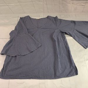 🛍June and Delaney  blue white gingham shirt X1